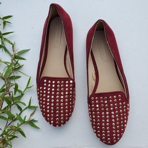Zara Size 6.5 Studded Red Faux Suede Flats